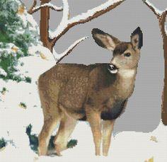 Free Cross Stitch Pattern - Winter Deer
