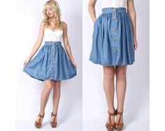 Vintage 70s Chambray Mini Skirt Blue High Waist Wooden Button Boho Preppy L Large via Etsy