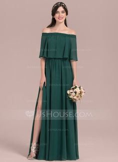 [US$ 90.49] A-Line/Princess Off-the-Shoulder Floor-Length Chiffon Bridesmaid Dress With Split Front