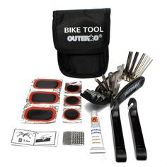 OUTERDO Portable 16 in 1 Cycling Bicycle Tools Bike Tire Tyre Repair Kit Patch Rubber Hand Tools #bicyclerepairkit