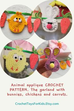 Animal applique CROCHET PATTERN. The garland with bunnies, chickens and carrots. Level of difficulty: easy.