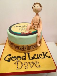 Thatchers gold and an in mankini leaving cake