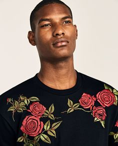 T Shirt Painting, Rose T Shirt, Embroidered Roses, Latest Outfits, Stussy, Pretty Boys, Shirt Designs, Art Quilting, Glamour