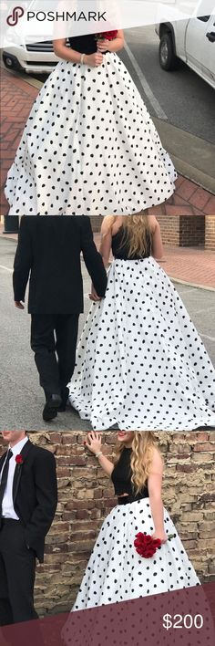 Sherri Hill Prom dress Black and white Polka Sherri Hill prom dress, has pockets!!! pictures doesn't do it justice! very very beautiful and comfortable with a black lace top! Sherri Hill Dresses Prom