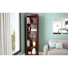 Contemporary Narrow Bookcase with 5 Shelves in Royal Cherry Finish