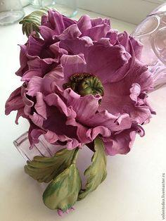 """Купить Мак из кожи """"Ты мой"""" - розовый, цветы ручной работы, цветы из кожи"""