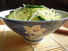 Sunomono (Japanese Vinegar Salad)  2 ounces cellophane noodles  6 tablespoons unseasoned rice vinegar  1 tablespoon sugar  1 teaspoon soy sauce  1 teaspoon salt plus more for sprinkling on cucumbers  2 Japanese cucumbers (1 English cucumber, 12 ounces)  For Garnish: Chopped green onions, toasted white and/or black sesame seeds