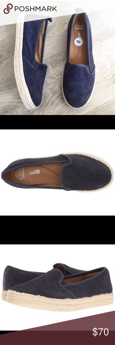 CLARKS• Espadrile loafers Size 9   The Azella Theoni is a classic espadrille women's slip-on from the Clarks® Collection. Features a chic navy denim fabric with perforated detailing, a woven trim, convenient stretch gore panels, a soft textile lining, a removable Clarks Cushion Soft™ with OrthoLite® footbed, and a rubber outsole. This women's casual loafer delivers a fresh take on timeless summer style. Clarks Shoes Espadrilles