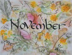 November Calligraphy, Watercolor, 2014, V. Atkinson.