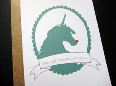 The RedNosed Unicorn Single Card by byMMcC on Etsy, $4.50