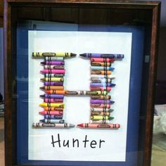 with all the broken crayons laying around the house I need to do this one! Crayon Framed Art