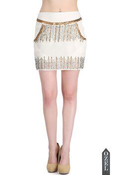 Glamorous Sequin Embellished Mini Skirt in White by Ozel Studio