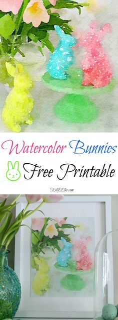 25 Free Spring Printables including this adorable watercolor bunnies print kellyelko.com