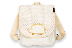 """******Recently retired******* Little ones can carry their gear in sustainable style with these adorable Milkbarn Kids toddler backpacks! Made with GOTS certified Organic Cotton canvas; Phthalate free, latex free, lead free, and BPA free. Adjustable cotton straps and antique brass hardware. Magnetic closure. Measures 11"""" x 9"""" x 3.5"""". Imported. By MilkBarn Kids (formerly Zebi Baby)."""