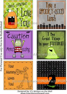 Freebie from It's Written on the Wall:  24 Halloween Lunchbox Notes + 12 New Everyday Notes Are Available