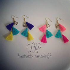 ピアス出来た✨ サボり気味でなかなか思うように出店準備が捗らず焦る今日この頃�� #lily #handmade #handmadeaccessory #タッセル #タッセルピアス #チェーンピアス #トライアングル #3colors #colorful #カラフル #chigasaki #shonan #茅ヶ崎 #湘南 #海の家 #beachparty #chakachakavillage http://misstagram.com/ipost/1568739101766410792/?code=BXFR-bKDWIo