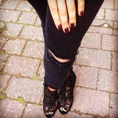 Ripped denim lace boots,all black