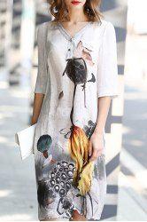 Vintage V Neck 3/4 Sleeve Lotus Print Shift Dress For Women