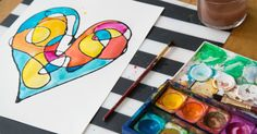How to make faux stained glass art with black glue. This easy and fun kids art activity can be adapted to any image, scene, or holiday. Valentine's Day Crafts For Kids, Art Activities For Kids, Family Crafts, Preschool Art, Projects For Kids, Art For Kids, Children Crafts, Activity Ideas, Kid Crafts