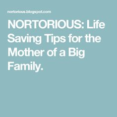 Life Saving Tips for the Mother of a Big Family.