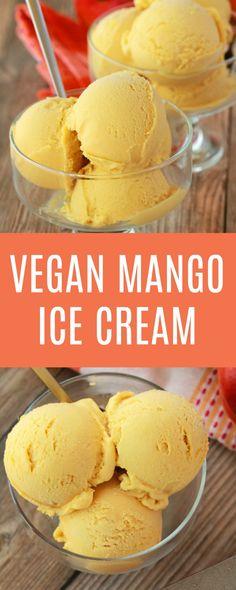 Creamy and divinely textured vegan mango ice cream. This easy 5-ingredient recipe is perfectly sweet, a gorgeous color and has all the mango flavor you could dream of! #vegan #lovingitvegan #veganicecream #vegandessert #dairyfree #glutenfree   lovingitvegan.com