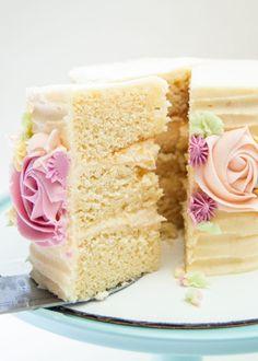 The Best Vanilla Cake | Sprinkle of This Moist Vanilla Cake Recipe From Scratch, Cake Recipes From Scratch, Buttercream Cake Designs, Vanilla Buttercream, Buttercream Flowers, Buttercream Frosting, Homemade Cake Recipes, Cake Mix Recipes, Dessert Recipes