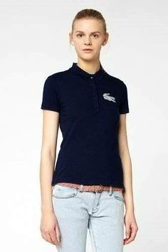 Brand New Authentic Factory Overrun Lacoste Women's L!ve Short Sleeve Pique Winking Croc Polo Color: Navy Blue Php 1,950