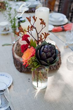 Earthy wooded centerpiece. Easy, DIY