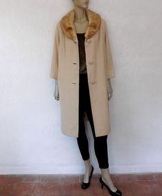 Vintage 1950s Ladies Black Cashmere Coat w/ Blonde Mink Collar ...