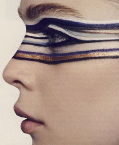 Ligne Optique. Photographed by Mark Segal, Styled by Ludivine Poiblanc, Make up by Peter Philips, Model: Kim Noorda, Vogue Paris August 2007 ....it's like glam warpaint