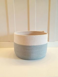 Large Sea Blue and White Rope Basket by PrairieStMercantile
