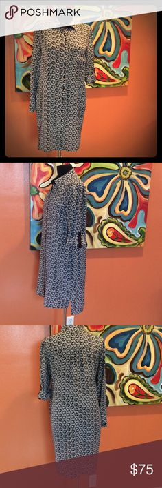 Diane Von Furstenberg Shirt Dress Beautiful button down 100% silk dress. Optional roll up sleeve and features self pocket on chest. Like new. Hi low shirt styling Diane von Furstenberg Dresses Long Sleeve