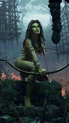 Orcish warrior woman, fantasy character inspiration ArtStation - Morenn of Brokilon - GWENT, Bryan Sola Dark Fantasy, Fantasy Girl, Fantasy Rpg, Fantasy Women, Medieval Fantasy, Fantasy Artwork, Witcher Art, The Witcher, Fantasy Warrior