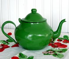 bright green teapot.