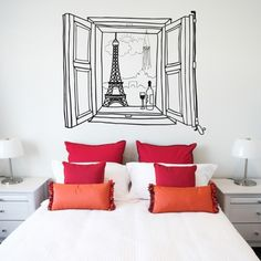 headboard decal - This decorative headboard decal from Fab is designed by Walls Need Love. Resembling a piece of upholstered headboard decor, this stick-on wall art . Interior Design Living Room, Living Room Decor, Bedroom Decor, Bedroom Ideas, Bedroom Inspiration, Design Bedroom, Headboard Decal, Decoracion Low Cost, Floor Decal