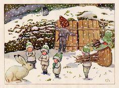 "Elsa Beskow ""Children of the forest"" Elsa Beskow, Children Of The Forest, Vintage Book Art, Baumgarten, Artists For Kids, Clipart, Gnomes, Childrens Books, Illustrators"