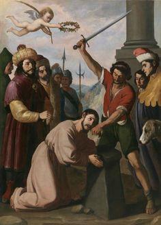 Martirio de Santiago/ The Martyrdom of Saint James// Hacia 1640//Francisco de Zurbarán//The apostle is shown kneeling with his hands together in prayer,offering his neck up to the sword of the executioner // Herodes Agripa #martyrdom