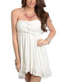 Another great find on #zulily! Off-White Gathered Strapless Dress #zulilyfinds