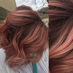 Rose Gold ombre Formula: roots: matrix equal parts 4rv and 504 with 20vol. Lifted her ends out to a level 10. Toned with a 10V in color sync! The rose gold is actually just mixed until I got the perfect color! I used joico intensity soft pink with drops of orange! It looks really bright going on but when you rinse it's perfect!! :)