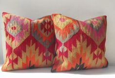 SET of 2 Decorative Blue Red n' Orange Kilim Pillow by Sheepsroad, $148.00