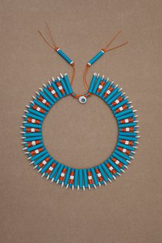 Handmade round collar necklace in orange, turquoise & white ceramic beads - Cleo from the Sunset Collection