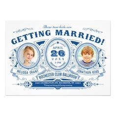 Kids Photo Wedding Invitations | Vintage Retro - wedding invitations cards custom invitation card design marriage party