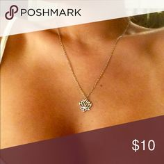 Dainty Lotus necklace Beautiful dainty lotus necklace.  Brand new  Available in silver or gold Matching earrings available   Yogi. Lotus. Om. Shanti Jewelry Necklaces
