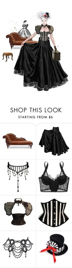 """""""Dead is the new alive"""" by moon-grrrl ❤ liked on Polyvore featuring TALLY WEiJL, J. Peterman, Kiki de Montparnasse, Josie, victorian, dolls, long skirts, corsets, black and paper doll"""