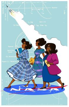 """hackedmotionart: """"Finally finished my Hidden Figures print! Another one you can find at ECCC! Which I need to remember to make a map of my location lol """" (can I just say I loved this movie) Black Girl Art, Black Art, Art Girl, You Are My Moon, Collage Des Photos, Grafik Design, Women In History, Cute Art, Pretty Art"""
