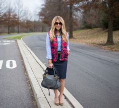 What I Wore to Work Weekly Linkup (Mix & Match Fashion) Preppy Outfits, Casual Fall Outfits, Modest Outfits, Cute Outfits, Work Fashion, Modest Fashion, Mix And Match Fashion, Leopard Pumps, Puffy Vest
