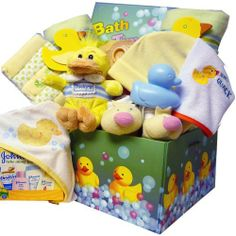 Splish Splash Bath Time Fun Care Package for Baby Boys or Girls by Art of Appreciation Gift Baskets.™. $69.99. It's Splish Splashing bath time fun for both baby girls OR boys packed in a rubber ducky care package gift box. Open the lid to reveal an adorable set of clothes, blankets, washcloths, plush duck, travel pack of Johnson and Johnson bath products and more tucked inside! The adorable gift box makes is great for storing baby keepsake items, or use it to decorate babi...