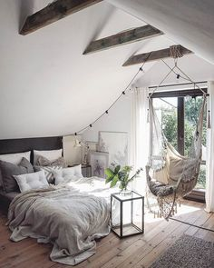 Scandinavian Bedroom Design Scandinavian style is one of the most popular styles of interior design. Although it will work in any room, especially well . Dream Rooms, Dream Bedroom, Home Bedroom, Attic Bedrooms, Modern Bedroom, Teen Bedroom, Contemporary Bedroom, Bedroom Chair, Hammock In Bedroom