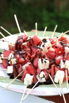 watermelon and feta skewers with balsamic sauce drizzle | Drizzle and Dip