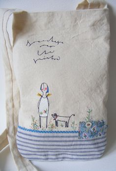 Handmade cross body bag Screen print Vintage French Linen